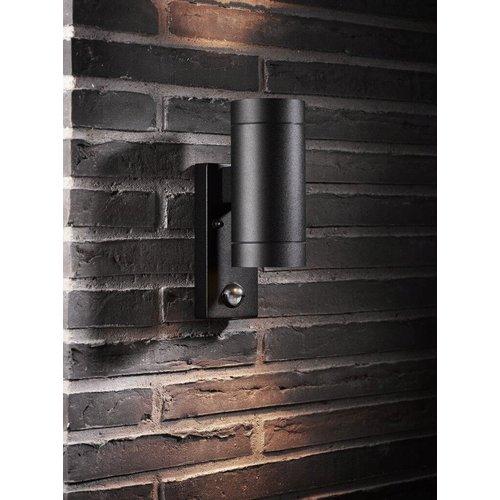Nordlux Wandlamp Buiten Tweezijdig Zwart Sensor - GU10 Fitting IP54 - Tin Maxi Sensor