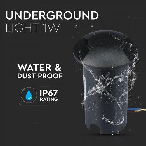 Lightexpert Grondspot 12V - Zwart - 1W - 10 Lumen - IP67 - 2 Lichts - 6500K
