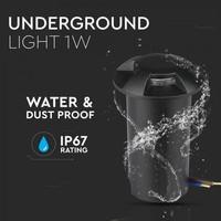 Lightexpert Grondspot 12V - Zwart - 1W - 10 Lumen - IP67 - 4 Lichts - 6500K