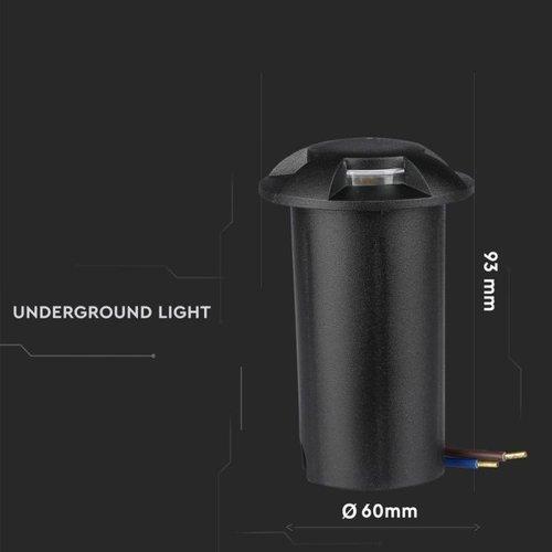 Lightexpert.nl Grondspot 12V - Zwart - 1W - 10 Lumen - IP67 - 4 Lichts - 3000K