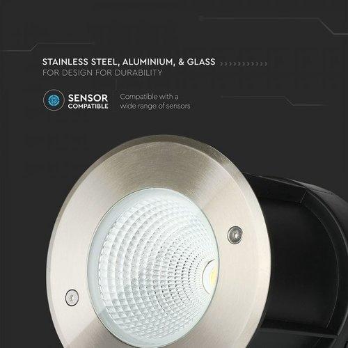 Lightexpert.nl Grondspot Buiten LED XL - RVS - 12W  - 4000K