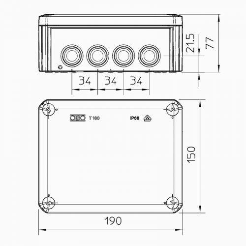 Lightexpert Lasdoos IP66 - 176x135x67 mm - 12 Flexible ingangen