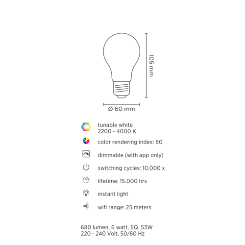 Lednify LEDNIFY WiZ Connected Smart LED Filament Standard Amber - E27 - 6W - 680LM - 2200-4000K