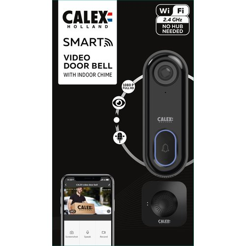 Calex Calex Smart Deurbel met Camera - WiFi Videodeurbel - HD - 1080p