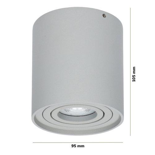 Lightexpert LED Opbouwspot - Rond - Grijs - Kantelbaar - Dimbaar  - IP 20
