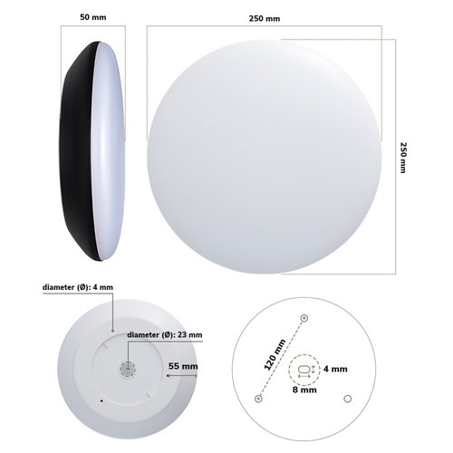 Lightexpert LED Plafondlamp - 1200 Lumen  - IP65 - 12W - Lichtkleur instelbaar - Wit