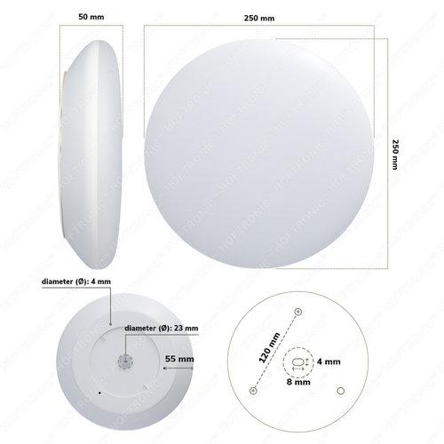 Lightexpert LED Plafondlamp - 1200 Lumen  - IP65 - 12W - Lichtkleur instelbaar - Chroom - Ø25 cm