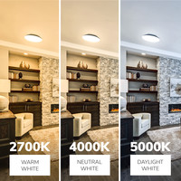 Lightexpert LED Plafondlamp - 1200 Lumen  - IP65 - 12W - Lichtkleur instelbaar - RVS