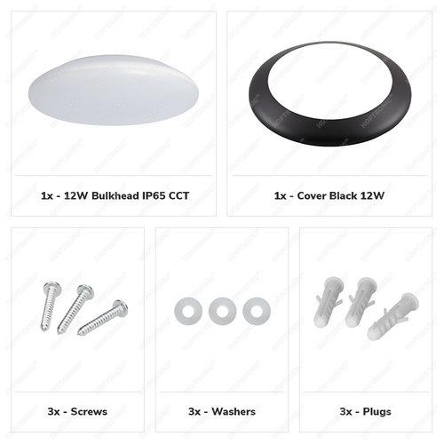 Lightexpert LED Plafondlamp - Dimbaar- 1200 Lumen  - IP65 - 12W - Lichtkleur instelbaar - RVS