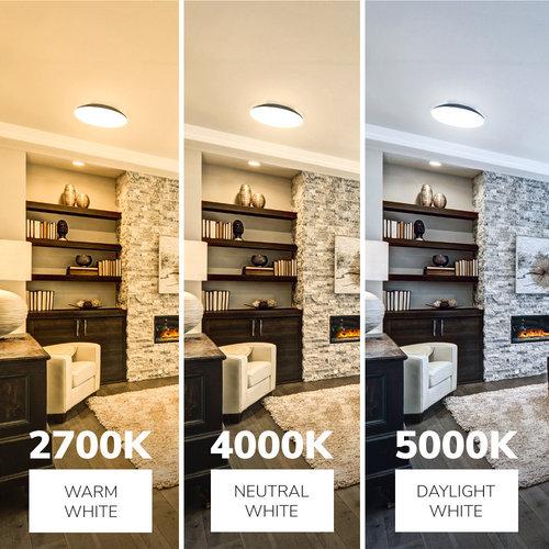 Lightexpert LED Plafondlamp - 1900 Lumen  -  IP65 - 18W - Lichtkleur instelbaar - Zwart