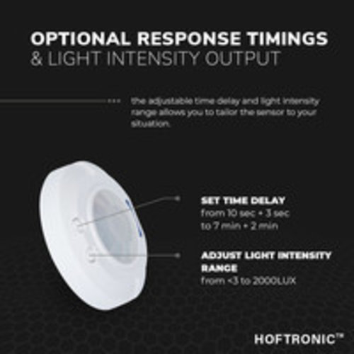 Lightexpert Witte  360° Bewegingssensor Met Schemerschakelaar 8M Bereik