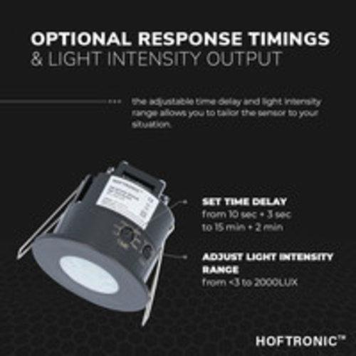 Lightexpert Zwarte Bewegingssensor Inbouw 360° Met Schemerschakelaar 6M Bereik Max. 300W