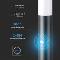 Lightexpert LED Sokkellamp Dally S Incl. Bewegingssensor - E27 Fitting - IP44 - 45cm - Zwart