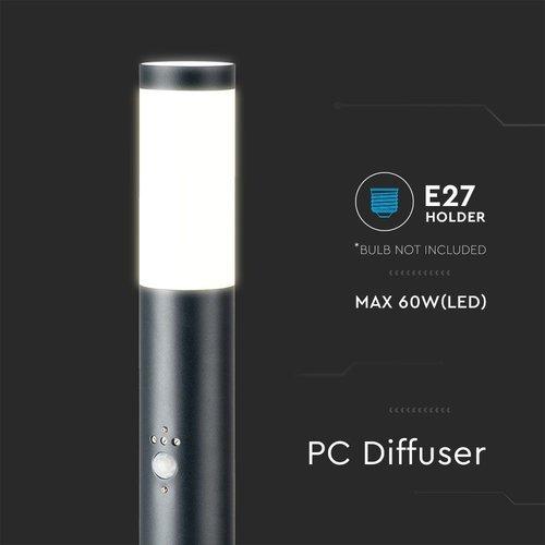 Lightexpert LED Sokkellamp Dally XL Incl. Bewegingssensor - E27 Fitting - IP44 - 110cm - Zwart