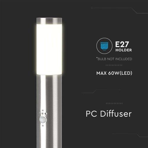 Lightexpert LED Sokkellamp Dally L Incl. Bewegingssensor - E27 Fitting - IP44 - 80cm - RVS
