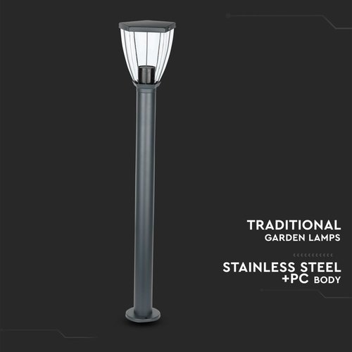 Lightexpert LED Sokkellamp Kelly Klassiek - E27 Fitting - IP44 - 80cm - Zwart