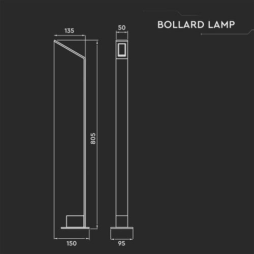 Lightexpert LED Sokkellamp Sally - 7W - 4000K - IP65 - 80cm - Zwart