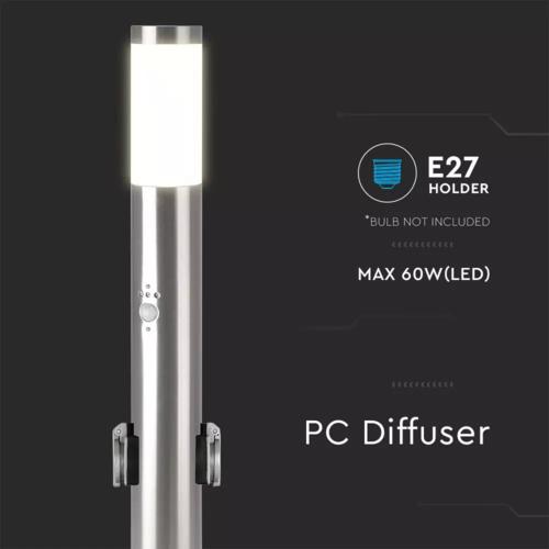 Lightexpert LED Sokkellamp Dally M Incl. Bewegingssensor en 2 Stopcontacten - E27 Fitting - IP44 - 60cm - RVS