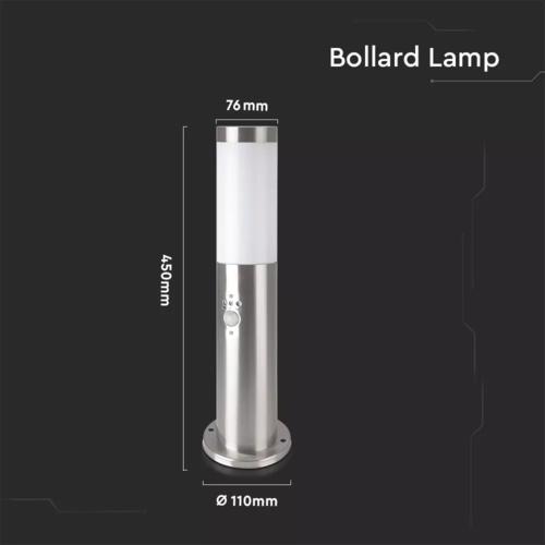 Lightexpert LED Sokkellamp Dally S Incl. Bewegingssensor - E27 Fitting - IP44 - 45cm - RVS