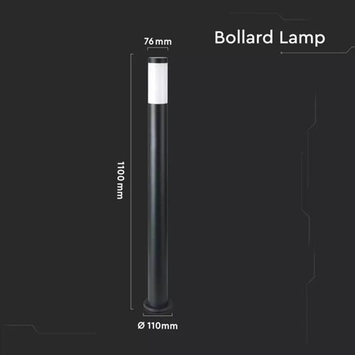 Lightexpert LED Sokkellamp Dally XL - E27 Fitting - IP44 - 110cm - Zwart