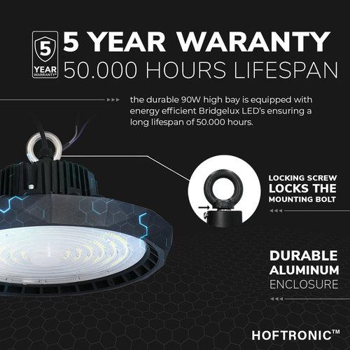 Lightexpert LED High Bay 90W - 120° - 190lm/W - 5700K - IP65 - Dimbaar - 5 Jaar Garantie