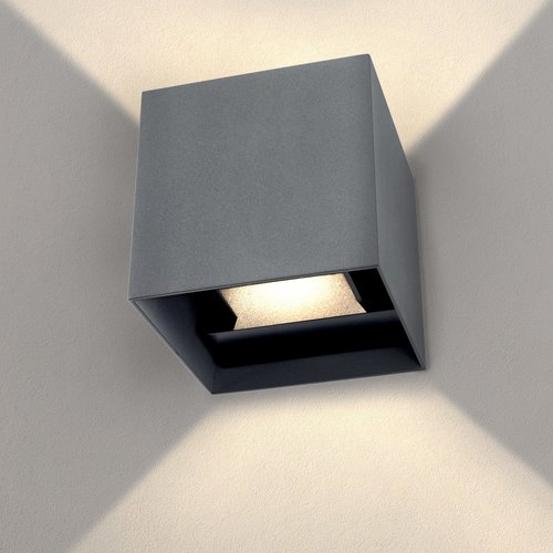 Ledvion LED Wandlamp Buiten Grijs - Tweezijdig - 3000K - 6W - IP54