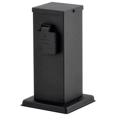 Buitenstopcontact Paal Zwart - IP44 - 2 stopcontacten