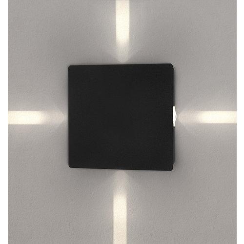 Lightexpert LED Wandlamp Buiten Zwart Vierkant - 3000K - 4W - IP65 - 440 Lumen