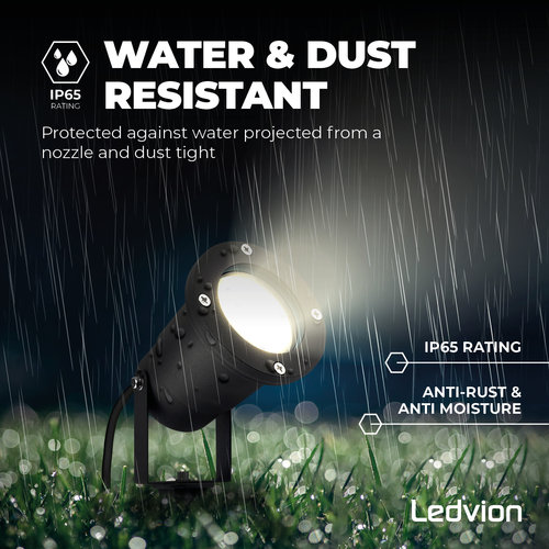 Ledvion IP65 - LED Prikspot Aluminium - GU10 Fitting - 1M Kabel