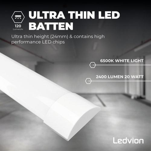 Ledvion LED Batten 60 cm - 20W -  2400 Lumen - 6500K