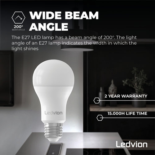 Ledvion Ledvion Dimbare E27 LED Lamp - 8.8W - 6500K - 806 Lumen