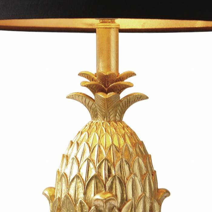 Pineapple Table Lamp - Gold & Black