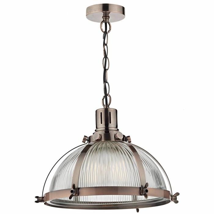 Copper Vintage Wing Nut Pendant with Ribbed Glass Shade