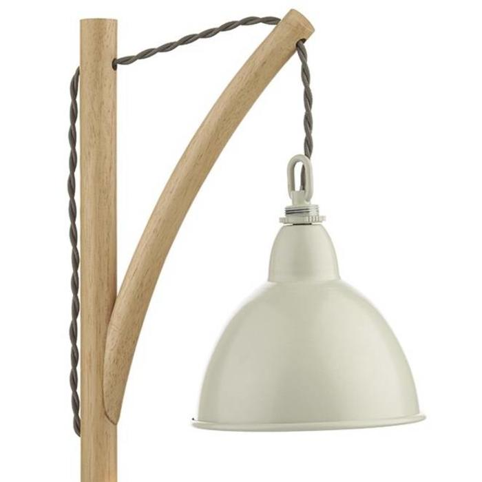 Retro Vintage Table Lamp - Lightwood and Cream