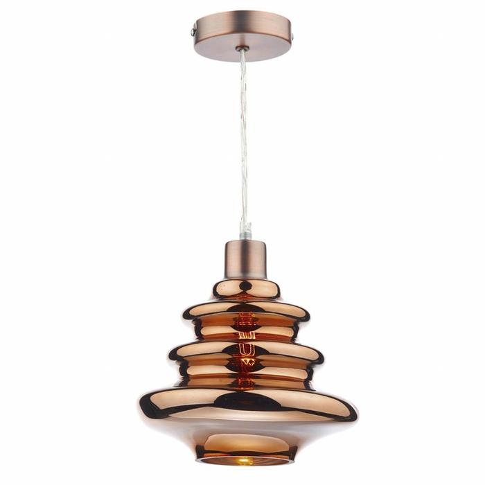 Coppered Ripple Glass Shade - Easy Fit Pendant Shade - Copy