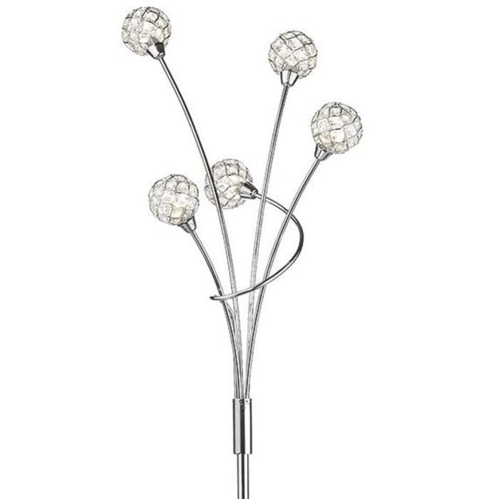 5 Light Beaded Ball Floor Lamp - Polished Chrome