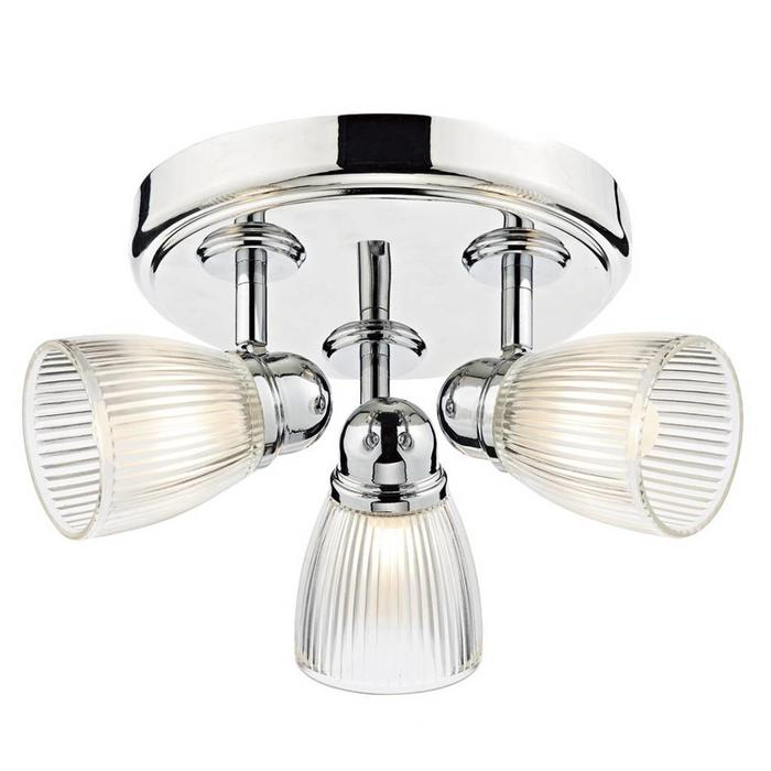 Ribbed Glass 3 Light Fitting - Polished Chrome