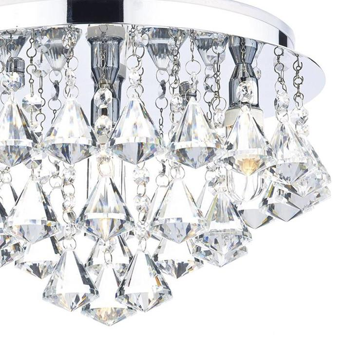 2 Tiered Crystal Fitting - Polished Chrome