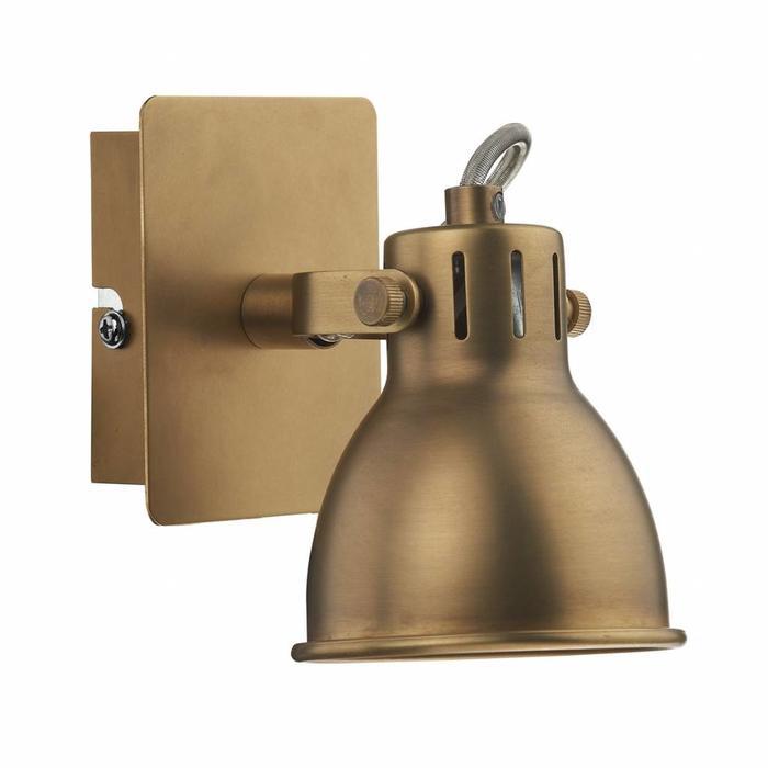Single Industrial Spotlight - Natural Brass