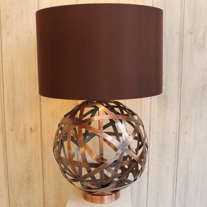 Copper Woven Globe Table Lamp