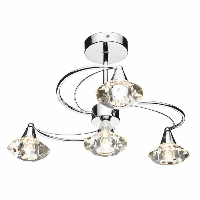 4 Light Crystal Ceiling Light - Polished Chrome
