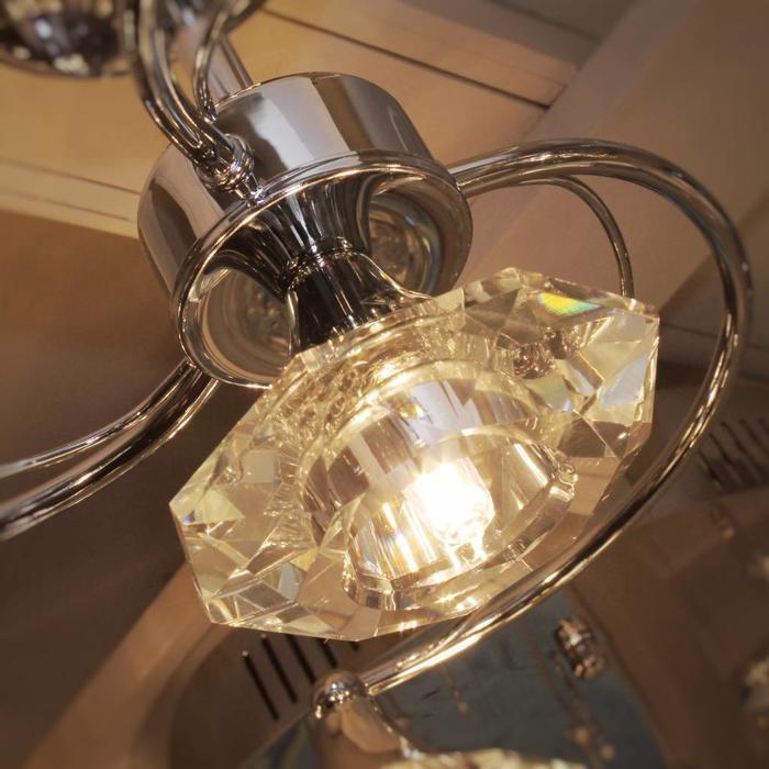 4 Light Crystal Ceiling Light - Polished Chrome