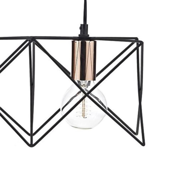 3 Light Cage Bar Pendant - Black