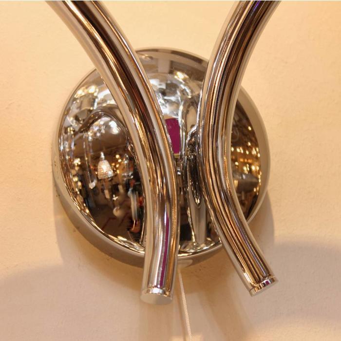 Art Deco Double Wall Light - Polished Chrome & Crystal