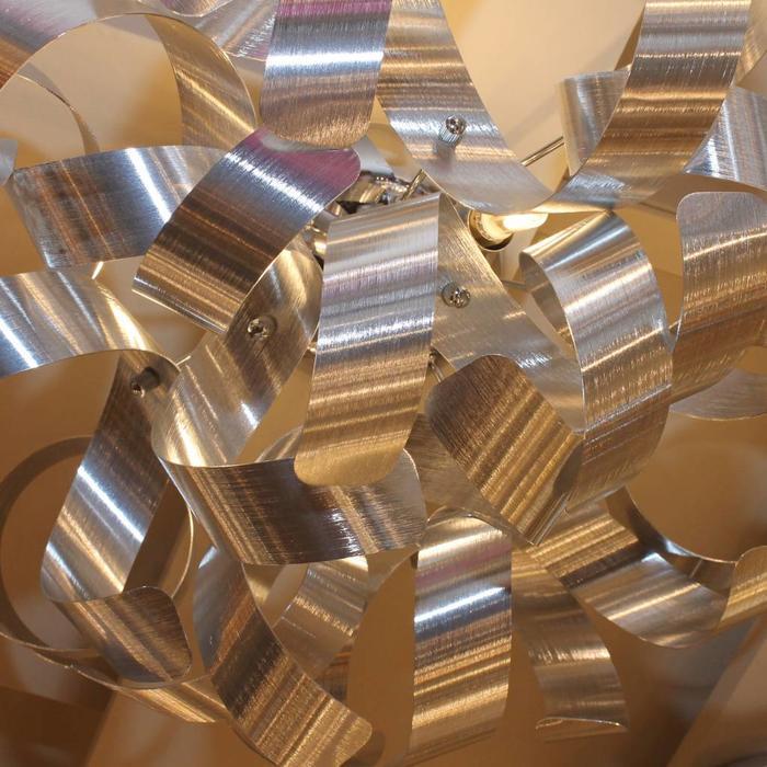 Twisting Ribbon 4 Light Flush Fitting - Brushed Aluminium
