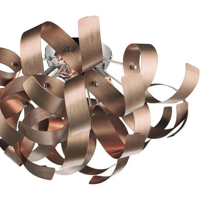 Twisting Ribbon 4 Light Flush Fitting - Brushed Copper