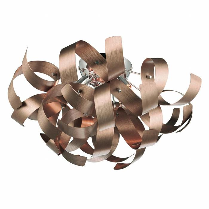 Twisting Ribbon 4 Light Flush Fitting - Brushed Copper