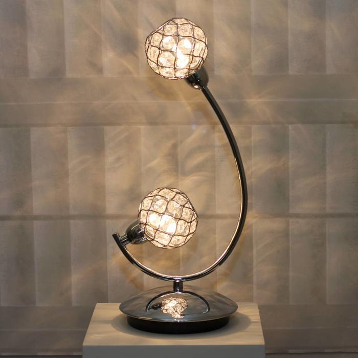 Glass Beaded Ball Table Lamp - Polished Chrome