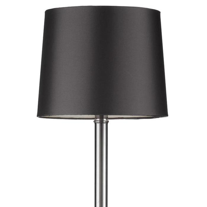 Smoked Glass Table Lamp with Grey Faux Silk Shade