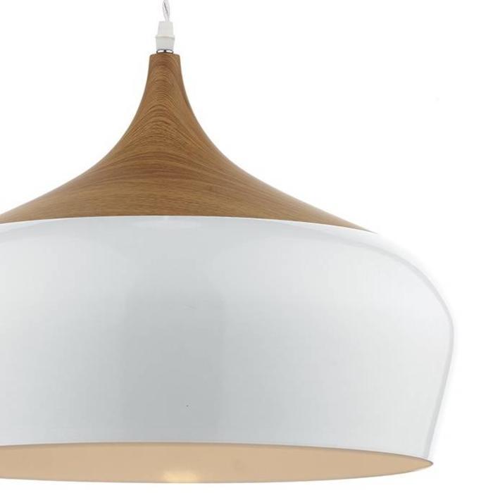 Oversized Scandi White & Wood Pendant